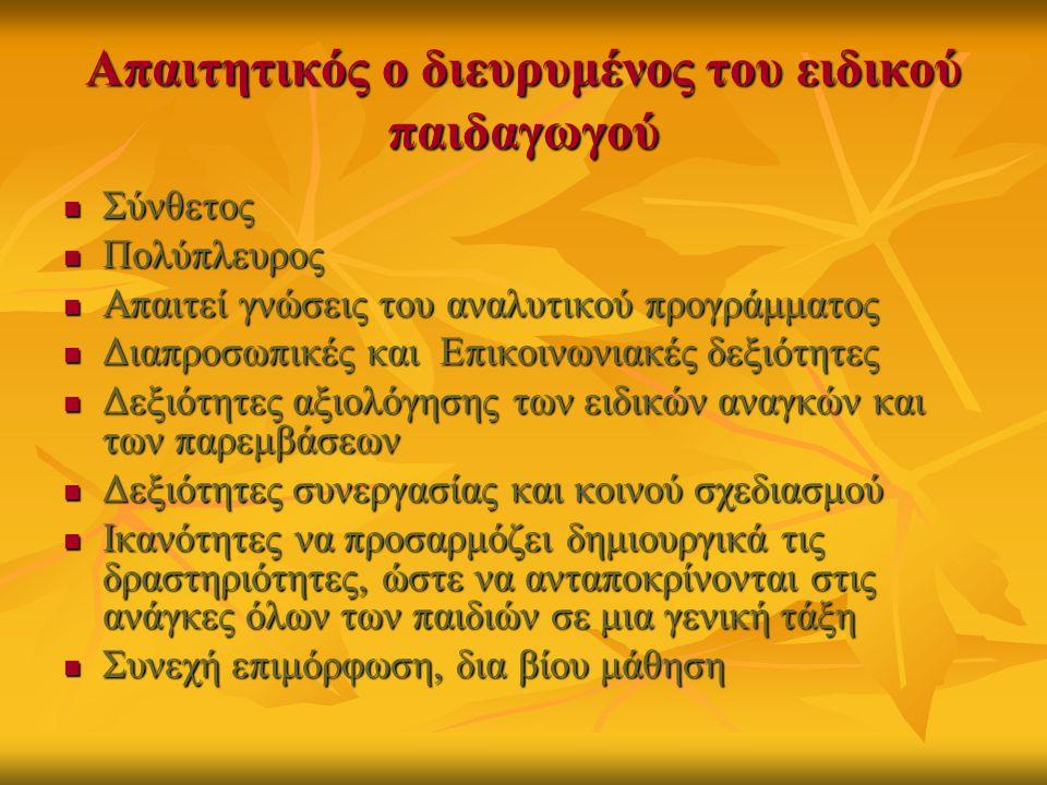 Απαιτητικός ο διευρυμένος του ειδικού παιδαγωγού  Σύνθετος  Πολύπλευρος  Απαιτεί γνώσεις του αναλυτικού προγράμματος  Διαπροσωπικές και Επικοινωνιακές δεξιότητες  Δεξιότητες αξιολόγησης των ειδικών αναγκών και των παρεμβάσεων  Δεξιότητες συνεργασίας και κοινού σχεδιασμού  Ικανότητες να προσαρμόζει δημιουργικά τις δραστηριότητες, ώστε να ανταποκρίνονται στις ανάγκες όλων των παιδιών σε μια γενική τάξη  Συνεχή επιμόρφωση, δια βίου μάθηση