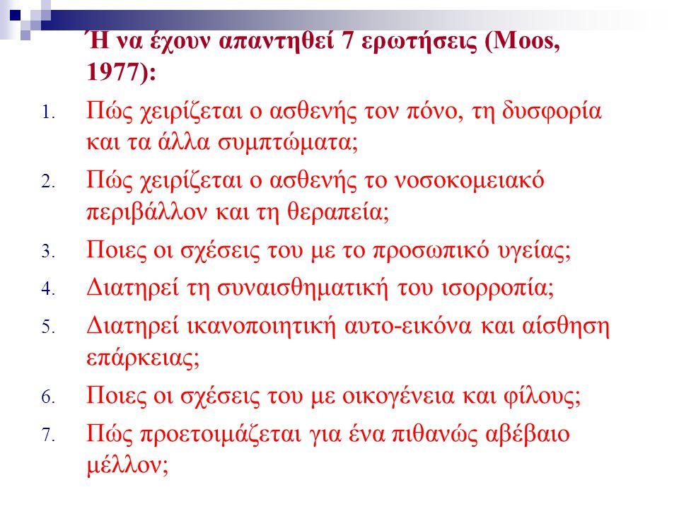 Ή να έχουν απαντηθεί 7 ερωτήσεις (Moos, 1977): 1. Πώς χειρίζεται ο ασθενής τον πόνο, τη δυσφορία και τα άλλα συμπτώματα; 2. Πώς χειρίζεται ο ασθενής τ