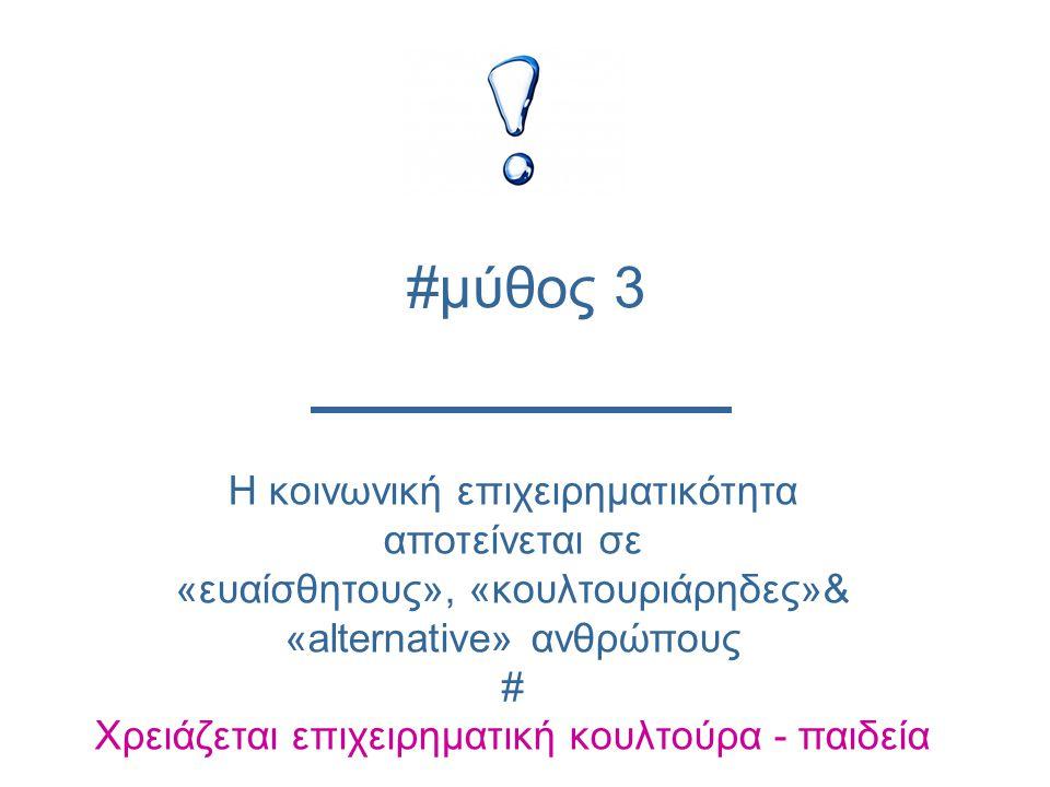Η κοινωνική επιχειρηματικότητα αποτείνεται σε «ευαίσθητους», «κουλτουριάρηδες»& «alternative» ανθρώπους # Χρειάζεται επιχειρηματική κουλτούρα - παιδεία #μύθος 3