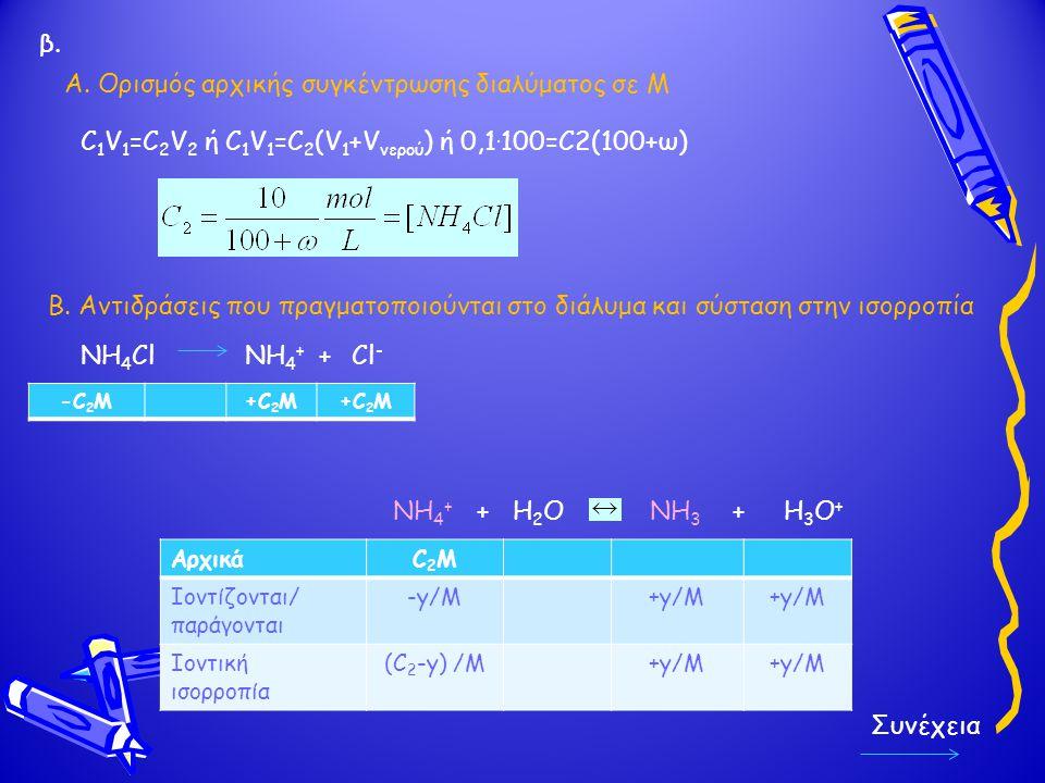 Α. Ορισμός αρχικής συγκέντρωσης διαλύματος σε Μ C 1 V 1 =C 2 V 2 ή C 1 V 1 =C 2 (V 1 +V νερού ) ή 0,1. 100=C2(100+ω) NH 4 + + Η 2 Ο NH 3 + Η 3 Ο + B.