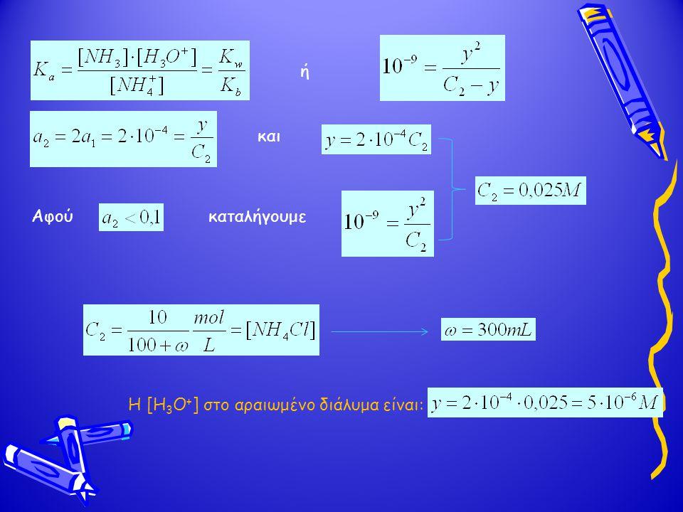 ή Αφούκαταλήγουμε και Η [Η 3 Ο + ] στο αραιωμένο διάλυμα είναι: