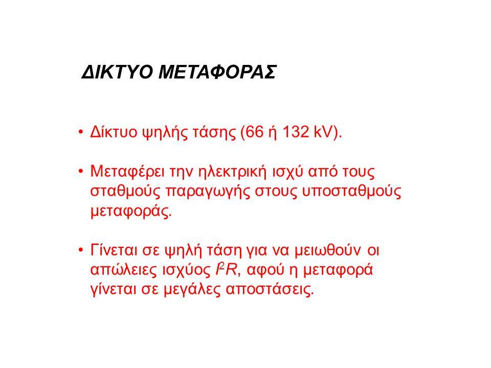•Δίκτυο ψηλής τάσης (66 ή 132 kV). •Μεταφέρει την ηλεκτρική ισχύ από τους σταθμούς παραγωγής στους υποσταθμούς μεταφοράς. •Γίνεται σε ψηλή τάση για να