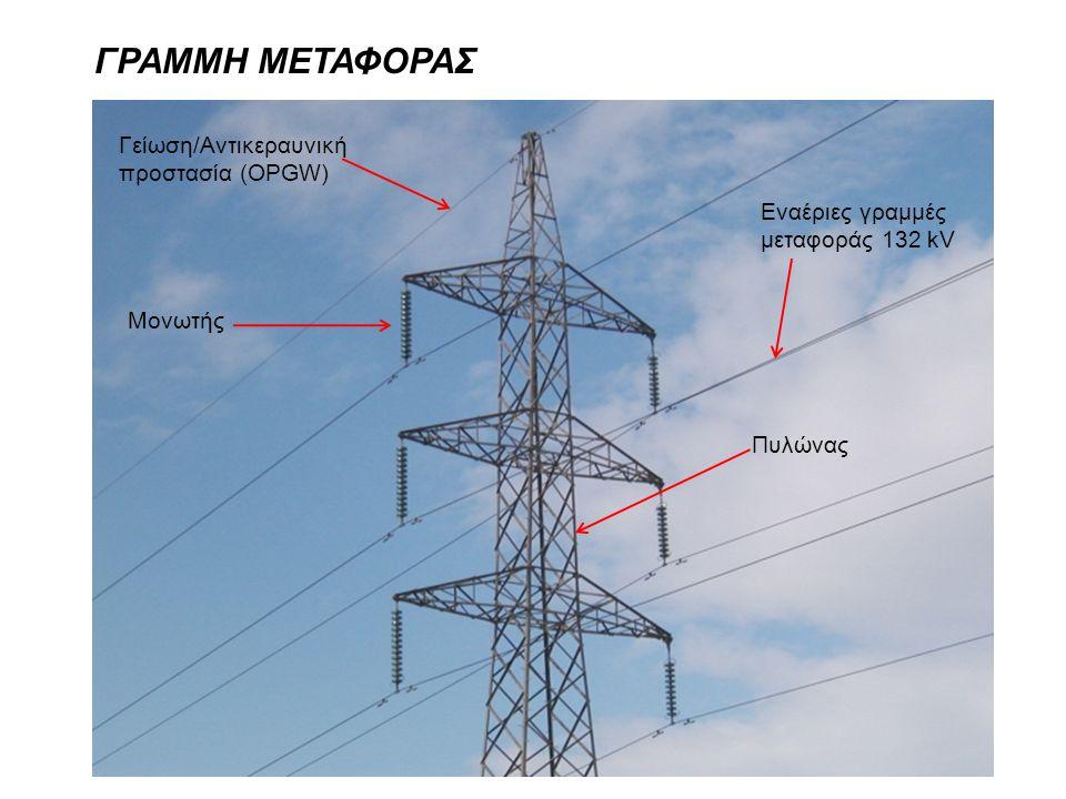 ΓΡΑΜΜΗ ΜΕΤΑΦΟΡΑΣ Γείωση/Αντικεραυνική προστασία (OPGW) Μονωτής Πυλώνας Εναέριες γραμμές μεταφοράς 132 kV