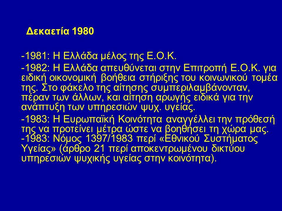 Δεκαετία 1980 -1981: Η Ελλάδα μέλος της Ε.Ο.Κ. -1982: Η Ελλάδα απευθύνεται στην Επιτροπή Ε.Ο.Κ. για ειδική οικονομική βοήθεια στήριξης του κοινωνικού