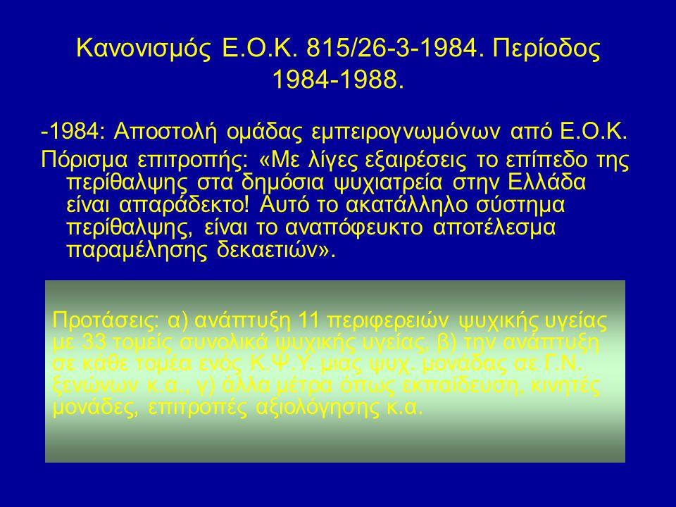 Κανονισμός Ε.Ο.Κ. 815/26-3-1984. Περίοδος 1984-1988. -1984: Αποστολή ομάδας εμπειρογνωμόνων από Ε.Ο.Κ. Πόρισμα επιτροπής: «Με λίγες εξαιρέσεις το επίπ