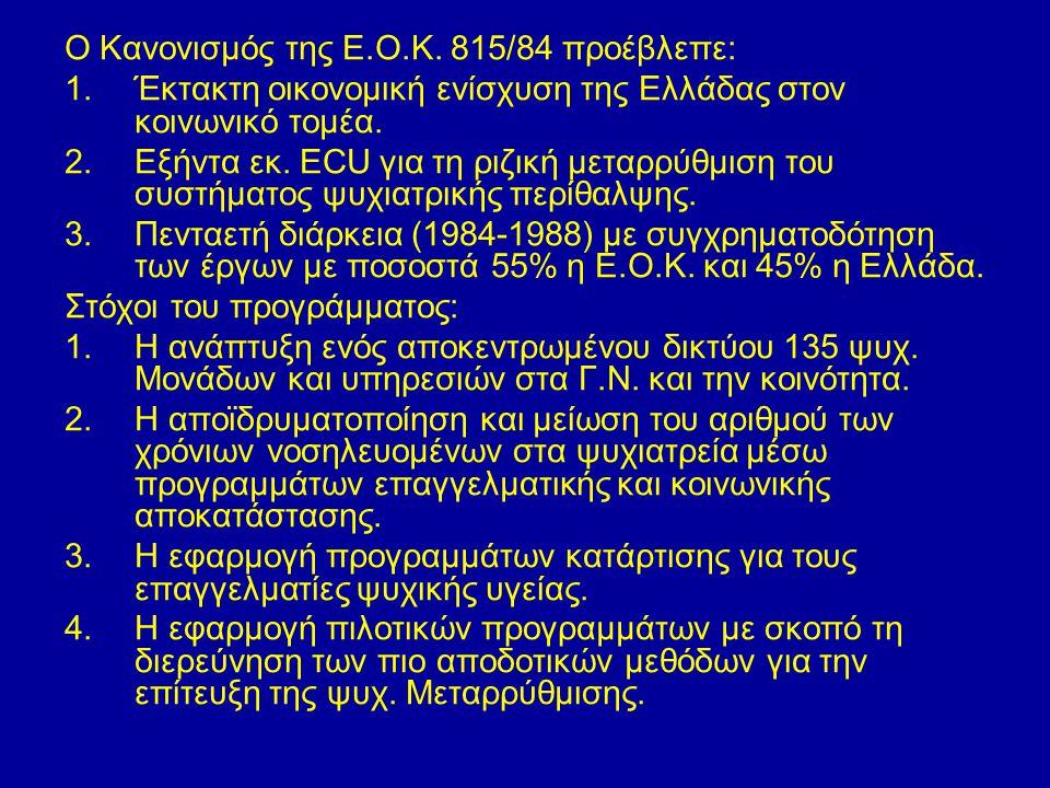 Ο Κανονισμός της Ε.Ο.Κ. 815/84 προέβλεπε: 1.Έκτακτη οικονομική ενίσχυση της Ελλάδας στον κοινωνικό τομέα. 2.Εξήντα εκ. ECU για τη ριζική μεταρρύθμιση