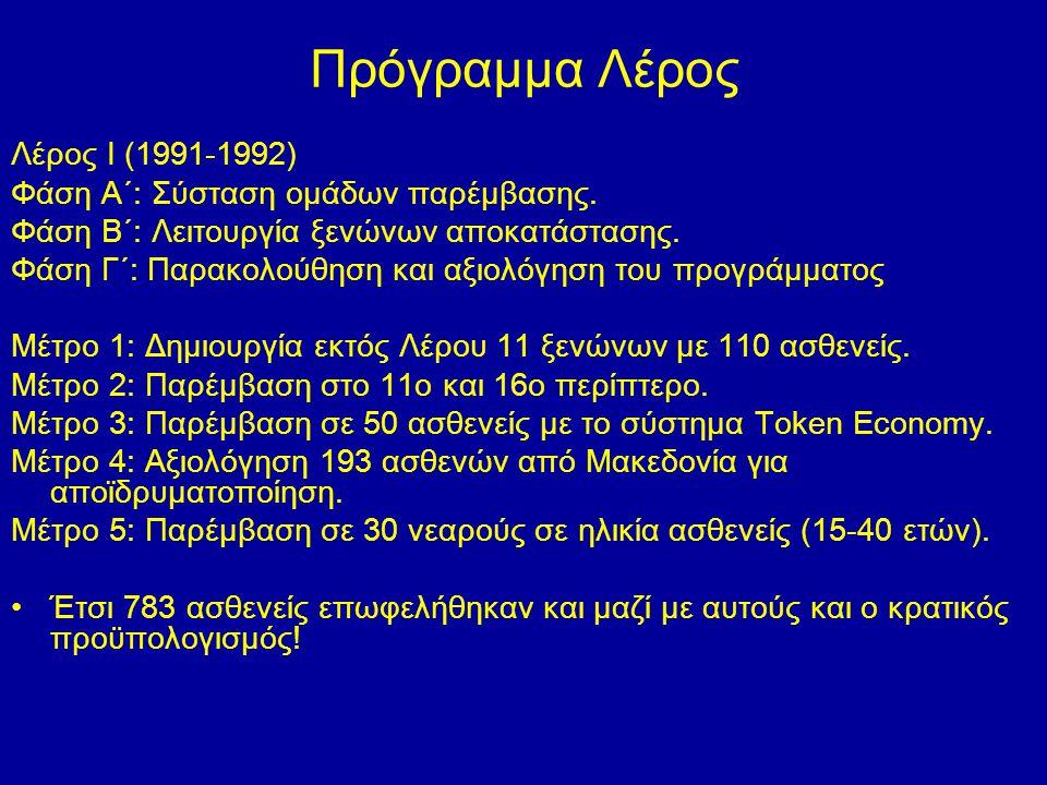 Πρόγραμμα Λέρος Λέρος Ι (1991-1992) Φάση Α΄: Σύσταση ομάδων παρέμβασης. Φάση Β΄: Λειτουργία ξενώνων αποκατάστασης. Φάση Γ΄: Παρακολούθηση και αξιολόγη