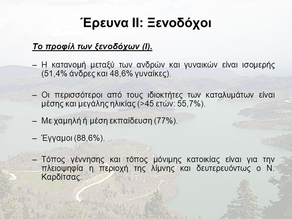 Έρευνα II: Ξενοδόχοι Το προφίλ των ξενοδόχων (I). –Η κατανομή μεταξύ των ανδρών και γυναικών είναι ισομερής (51,4% άνδρες και 48,6% γυναίκες). –Οι περ