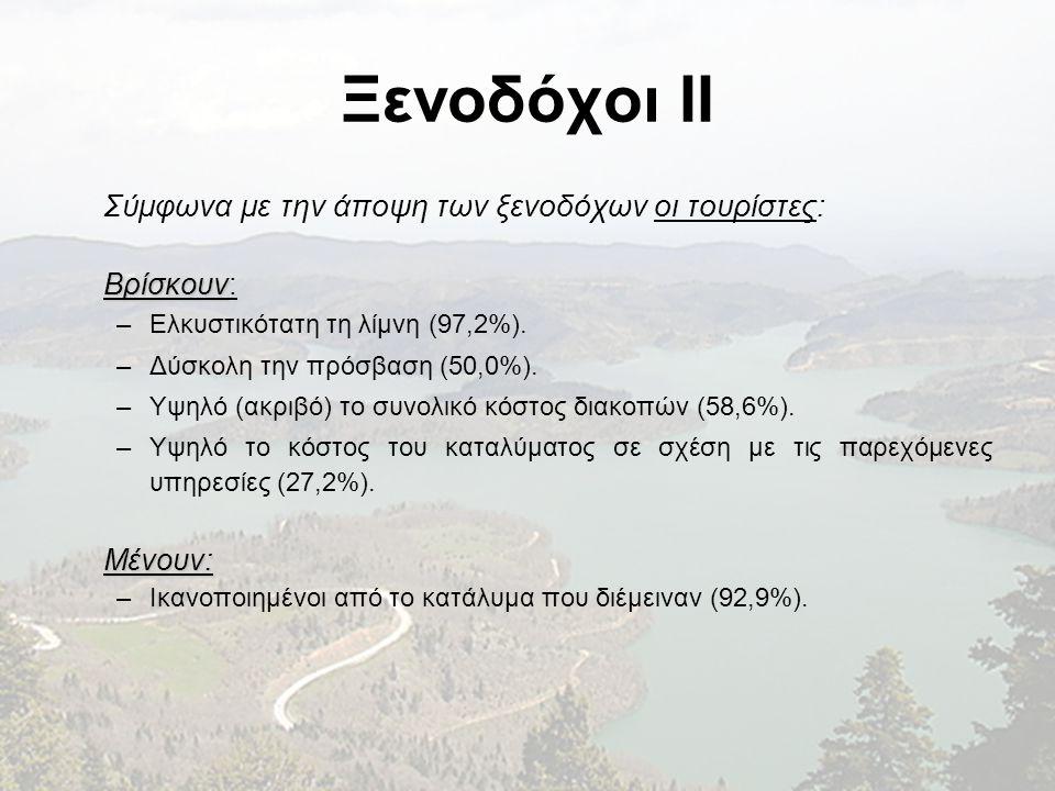 Ξενοδόχοι II Σύμφωνα με την άποψη των ξενοδόχων οι τουρίστες: Βρίσκουν Βρίσκουν: –Ελκυστικότατη τη λίμνη (97,2%). –Δύσκολη την πρόσβαση (50,0%). –Υψηλ