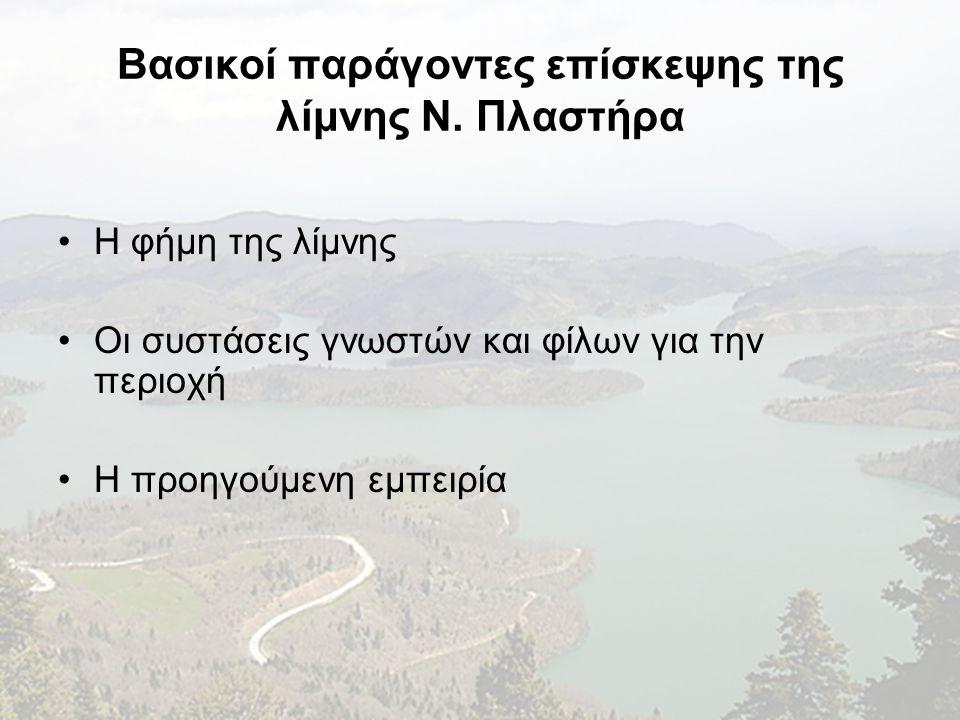 Βασικοί παράγοντες επίσκεψης της λίμνης Ν. Πλαστήρα •Η φήμη της λίμνης •Oι συστάσεις γνωστών και φίλων για την περιοχή •H προηγούμενη εμπειρία