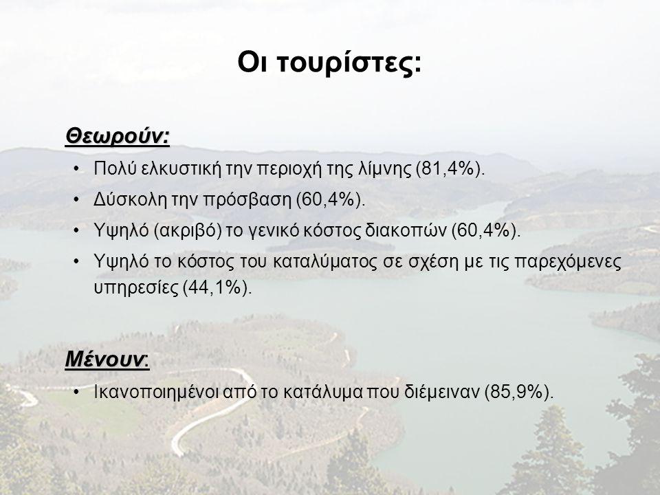 Οι τουρίστες: Θεωρούν: •Πολύ ελκυστική την περιοχή της λίμνης (81,4%). •Δύσκολη την πρόσβαση (60,4%). •Υψηλό (ακριβό) το γενικό κόστος διακοπών (60,4%