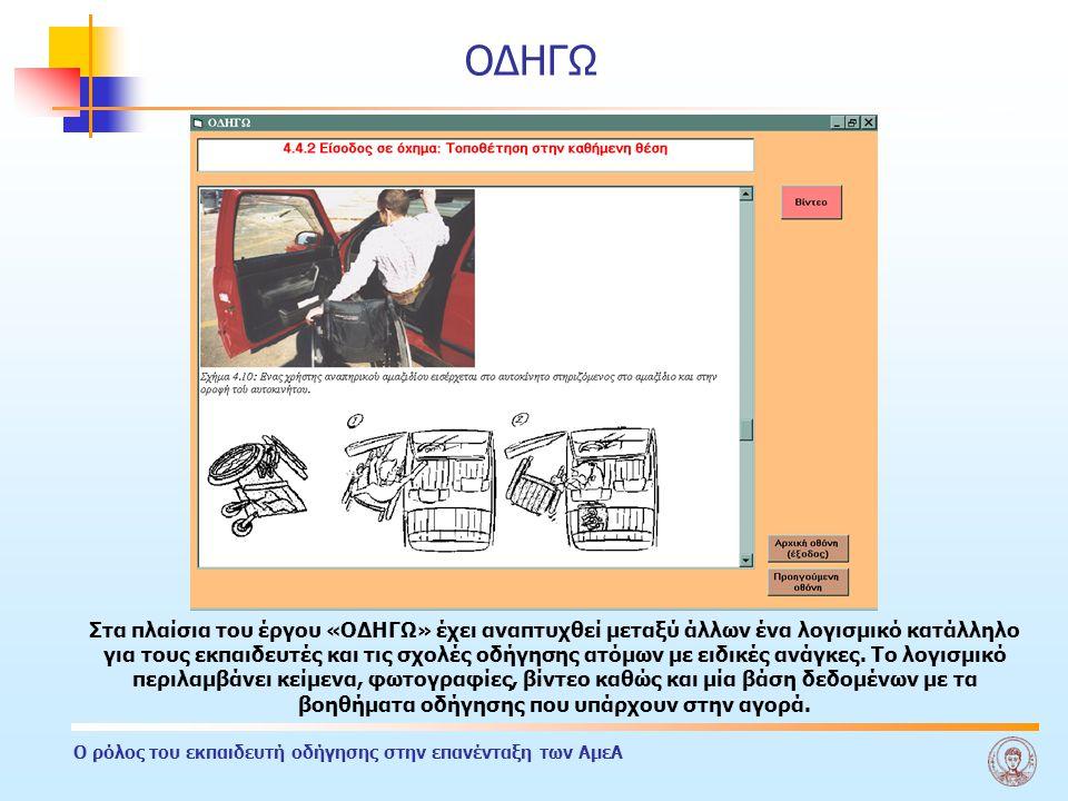 Ο ρόλος του εκπαιδευτή οδήγησης στην επανένταξη των ΑμεΑ ΟΔΗΓΩ Στα πλαίσια του έργου «ΟΔΗΓΩ» έχει αναπτυχθεί μεταξύ άλλων ένα λογισμικό κατάλληλο για