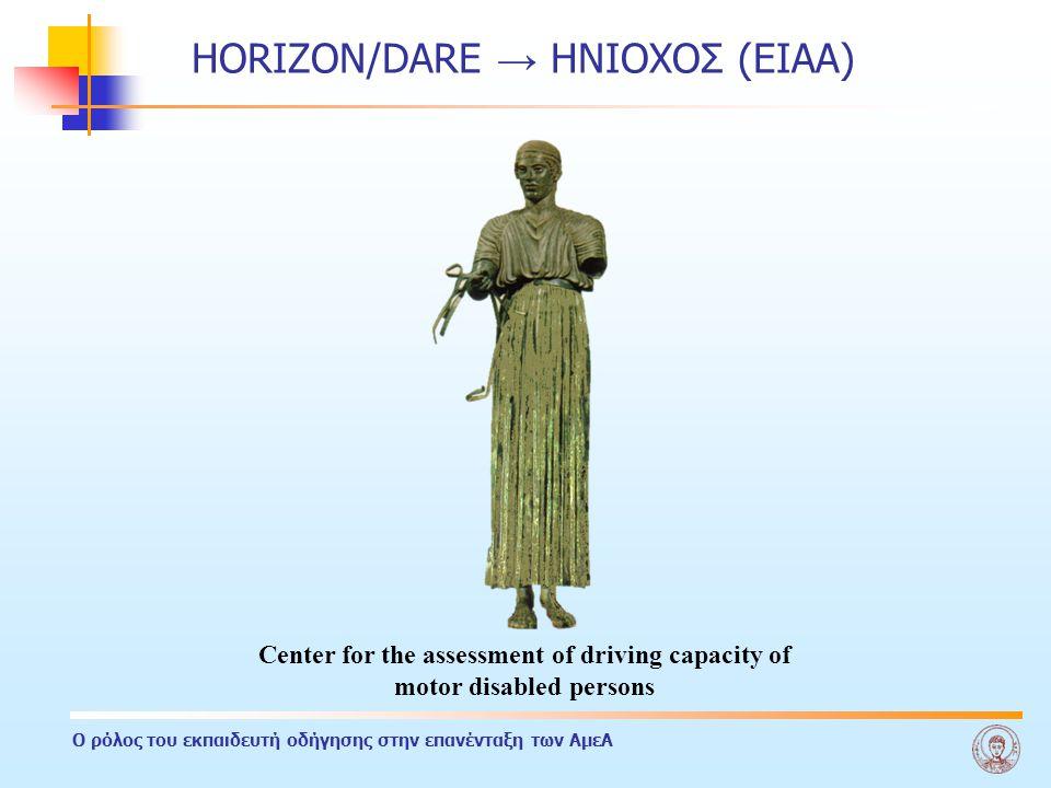 Ο ρόλος του εκπαιδευτή οδήγησης στην επανένταξη των ΑμεΑ HORIZON/DARE → ΗΝΙΟΧΟΣ (ΕΙΑΑ) Center for the assessment of driving capacity of motor disabled