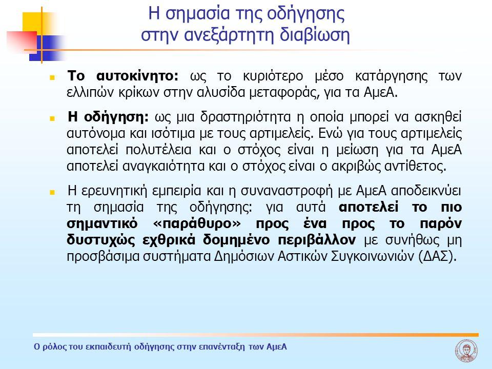 Ο ρόλος του εκπαιδευτή οδήγησης στην επανένταξη των ΑμεΑ HORIZON/DARE → ΗΝΙΟΧΟΣ (ΕΙΑΑ) Center for the assessment of driving capacity of motor disabled persons