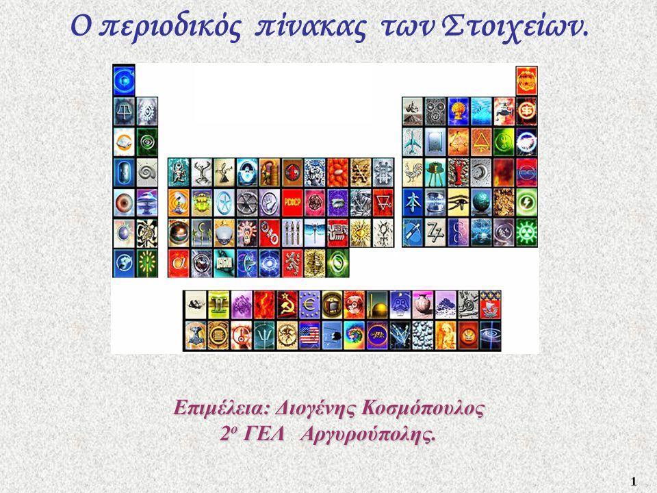 1 Ο περιοδικός πίνακας των Στοιχείων. Επιμέλεια: Διογένης Κοσμόπουλος 2 ο ΓΕΛ Αργυρούπολης.