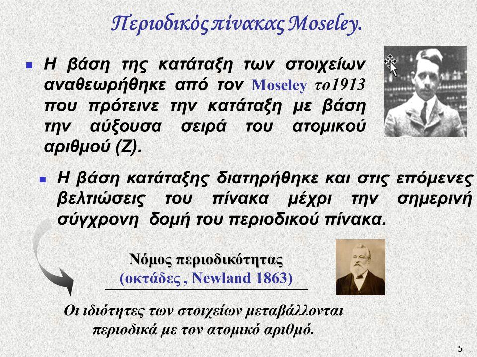 5 Περιοδικός πίνακας Moseley.  Η βάση της κατάταξη των στοιχείων αναθεωρήθηκε από τον Moseley το1913 που πρότεινε την κατάταξη με βάση την αύξουσα σε