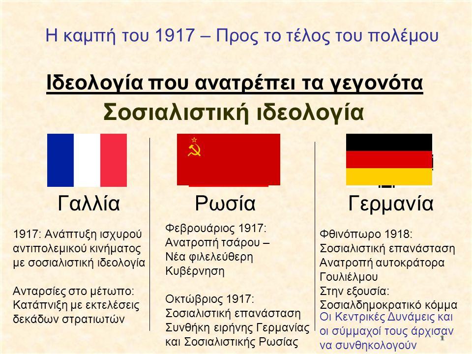 Η καμπή του 1917 – Προς το τέλος του πολέμου Ιδεολογία που ανατρέπει τα γεγονότα Γαλλία Ρωσία Γερμανία Σοσιαλιστική ιδεολογία 1917: Ανάπτυξη ισχυρού α