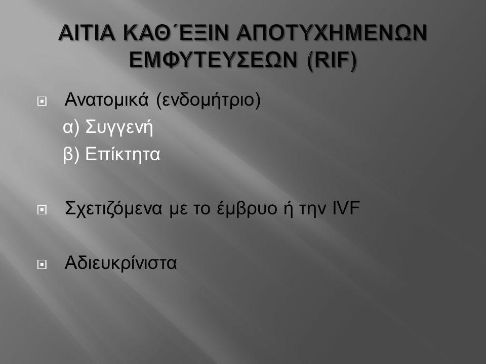 ΑΙΤΙΑ ΚΑΘ΄ΕΞΙΝ ΑΠΟΤΥΧΗΜΕΝΩΝ ΕΜΦΥΤΕΥΣΕΩΝ (RIF)  Ανατομικά (ενδομήτριο) α) Συγγενή β) Επίκτητα  Σχετιζόμενα με το έμβρυο ή την IVF  Αδιευκρίνιστα