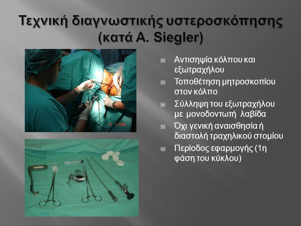  Αντισηψία κόλπου και εξωτραχήλου  Τοποθέτηση μητροσκοπίου στον κόλπο  Σύλληψη του εξωτραχήλου με μονοδοντωτή λαβίδα  Όχι γενική αναισθησία ή διασ