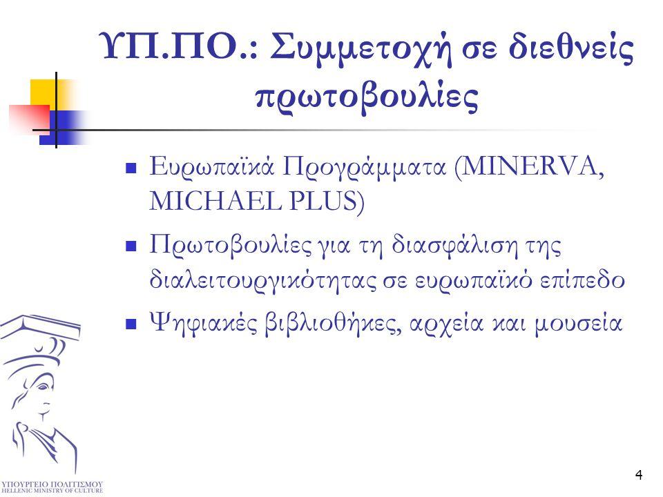 4 ΥΠ.ΠΟ.: Συμμετοχή σε διεθνείς πρωτοβουλίες  Ευρωπαϊκά Προγράμματα (MINERVA, MICHAEL PLUS)  Πρωτοβουλίες για τη διασφάλιση της διαλειτουργικότητας