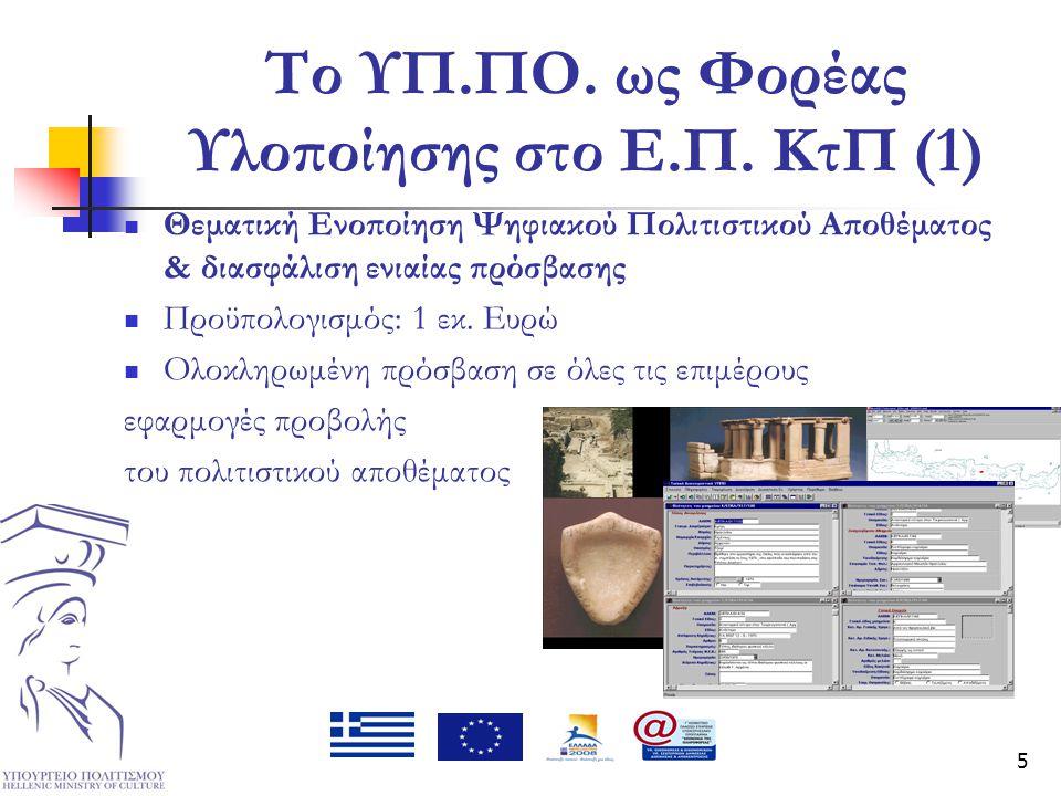 5 Το ΥΠ.ΠΟ. ως Φορέας Υλοποίησης στο Ε.Π. ΚτΠ (1)  Θεματική Ενοποίηση Ψηφιακού Πολιτιστικού Αποθέματος & διασφάλιση ενιαίας πρόσβασης  Προϋπολογισμό