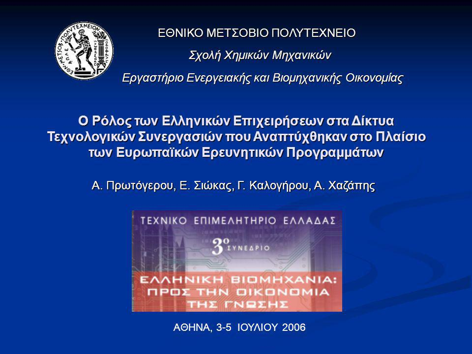 Στόχος της εργασίας H αρχική διερεύνηση του ρόλου των ελληνικών επιχειρήσεων στα δίκτυα τεχνολογικών συνεργασιών που δημιουργούνται στο πλαίσιο των ευρωπαϊκών ερευνητικών προγραμμάτων.