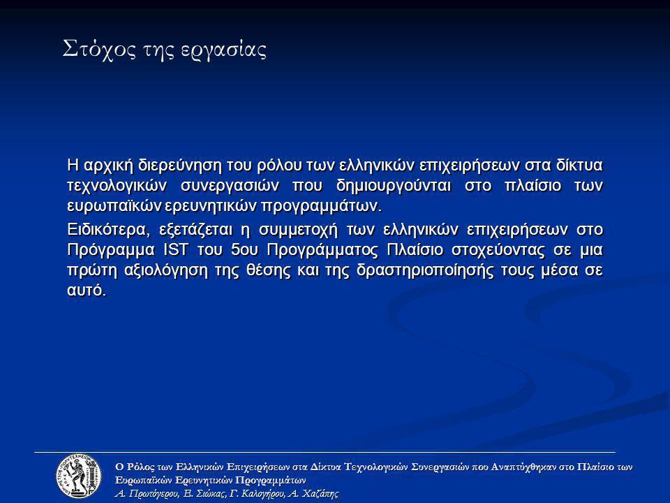 Στόχος της εργασίας H αρχική διερεύνηση του ρόλου των ελληνικών επιχειρήσεων στα δίκτυα τεχνολογικών συνεργασιών που δημιουργούνται στο πλαίσιο των ευ