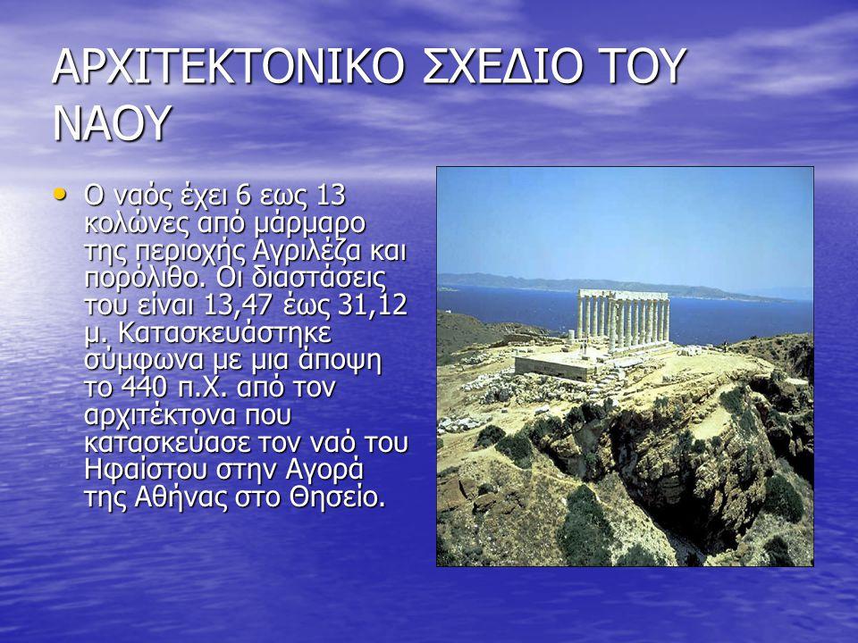 ΑΡΧΙΤΕΚΤΟΝΙΚΟ ΣΧΕΔΙΟ ΤΟΥ ΝΑΟΥ • Ο ναός έχει 6 εως 13 κολώνες από μάρμαρο της περιοχής Αγριλέζα και πορόλιθο. Οι διαστάσεις του είναι 13,47 έως 31,12 μ