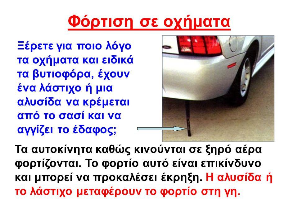 Φόρτιση σε οχήματα Ξέρετε για ποιο λόγο τα οχήματα και ειδικά τα βυτιοφόρα, έχουν ένα λάστιχο ή μια αλυσίδα να κρέμεται από το σασί και να αγγίζει το έδαφος; Τα αυτοκίνητα καθώς κινούνται σε ξηρό αέρα φορτίζονται.