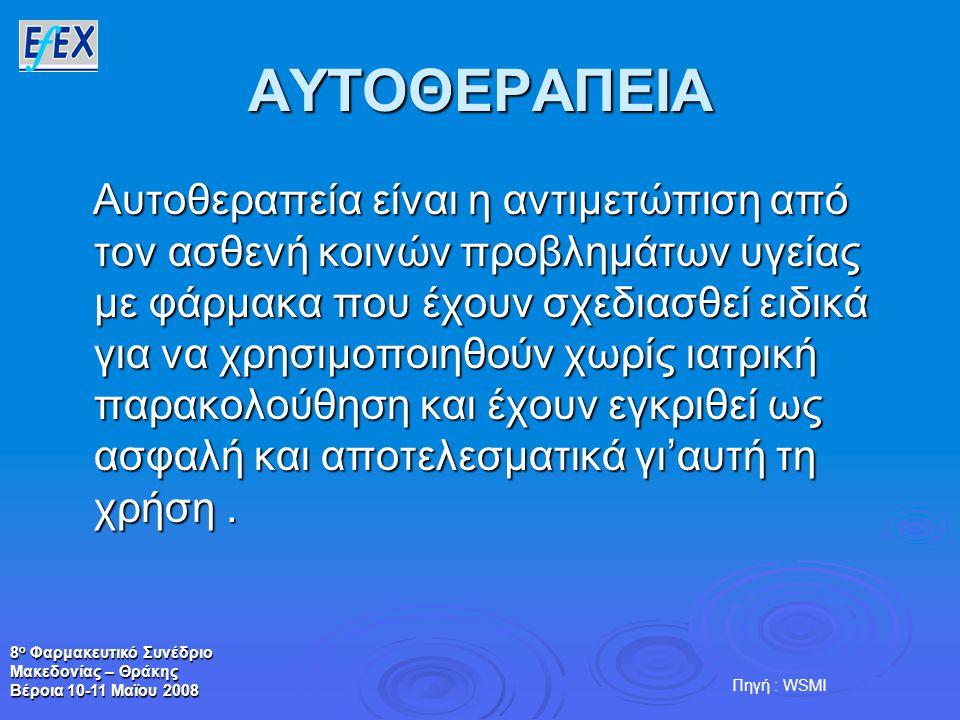8 ο Φαρμακευτικό Συνέδριο Μακεδονίας – Θράκης Βέροια 10-11 Μαϊου 2008 ΑΥΤΟΘΕΡΑΠΕΙΑ Αυτοθεραπεία είναι η αντιμετώπιση από τον ασθενή κοινών προβλημάτων υγείας με φάρμακα που έχουν σχεδιασθεί ειδικά για να χρησιμοποιηθούν χωρίς ιατρική παρακολούθηση και έχουν εγκριθεί ως ασφαλή και αποτελεσματικά γι'αυτή τη χρήση.