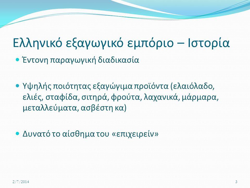Ελληνικό εξαγωγικό εμπόριο – Ιστορία  Έντονη παραγωγική διαδικασία  Υψηλής ποιότητας εξαγώγιμα προϊόντα (ελαιόλαδο, ελιές, σταφίδα, σιτηρά, φρούτα, λαχανικά, μάρμαρα, μεταλλεύματα, ασβέστη κα)  Δυνατό το αίσθημα του «επιχειρείν» 2/7/20143