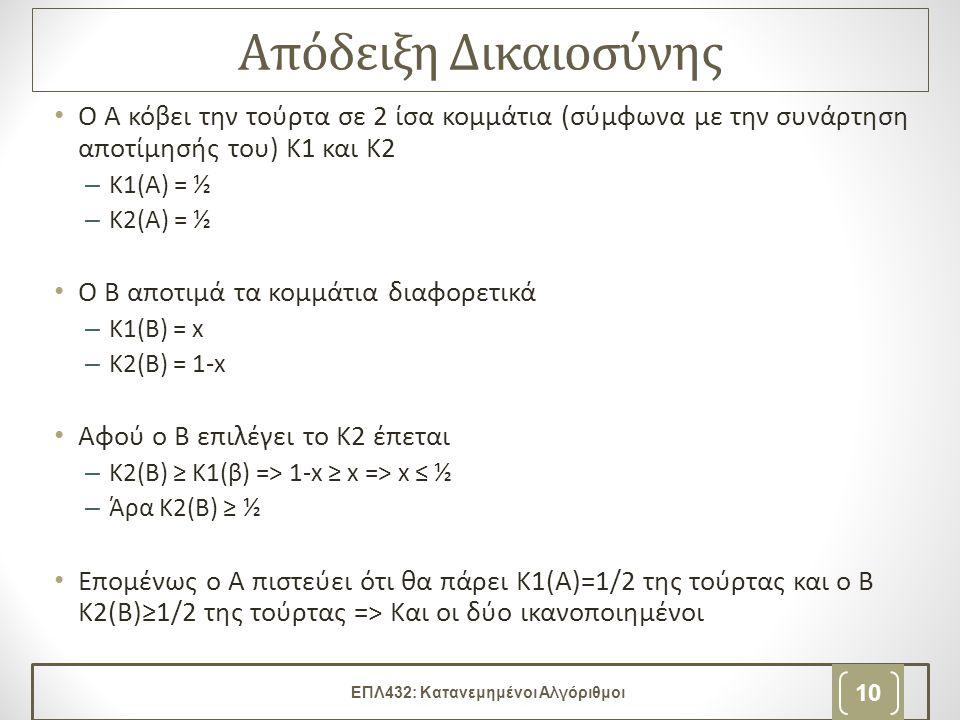 Απόδειξη Δικαιοσύνης • Ο Α κόβει την τούρτα σε 2 ίσα κομμάτια (σύμφωνα με την συνάρτηση αποτίμησής του) Κ1 και Κ2 –Κ1(Α) = ½ –Κ2(Α) = ½ • Ο Β αποτιμά