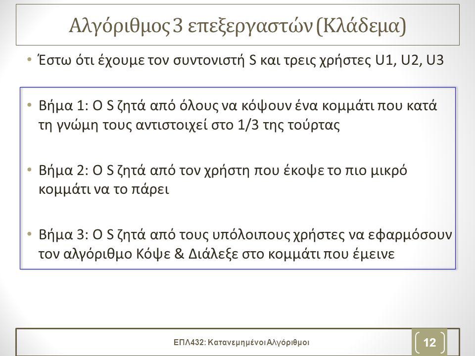 Αλγόριθμος 3 επεξεργαστών (Κλάδεμα) • Έστω ότι έχουμε τον συντονιστή S και τρεις χρήστες U1, U2, U3 • Βήμα 1: Ο S ζητά από όλους να κόψουν ένα κομμάτι