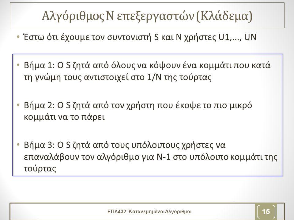 Αλγόριθμος Ν επεξεργαστών (Κλάδεμα) • Έστω ότι έχουμε τον συντονιστή S και Ν χρήστες U1,..., UΝ • Βήμα 1: Ο S ζητά από όλους να κόψουν ένα κομμάτι που