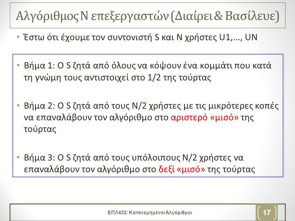 Αλγόριθμος Ν επεξεργαστών (Διαίρει & Βασίλευε) • Έστω ότι έχουμε τον συντονιστή S και Ν χρήστες U1,..., UΝ • Βήμα 1: Ο S ζητά από όλους να κόψουν ένα