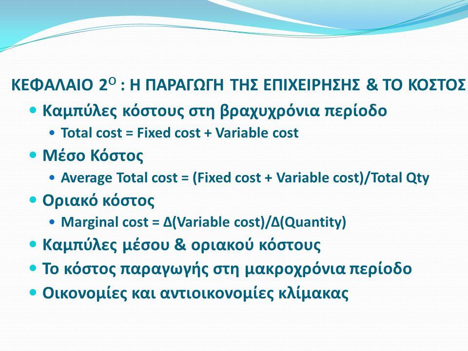  Καμπύλες κόστους στη βραχυχρόνια περίοδο  Total cost = Fixed cost + Variable cost  Μέσο Κόστος  Average Total cost = (Fixed cost + Variable cost)