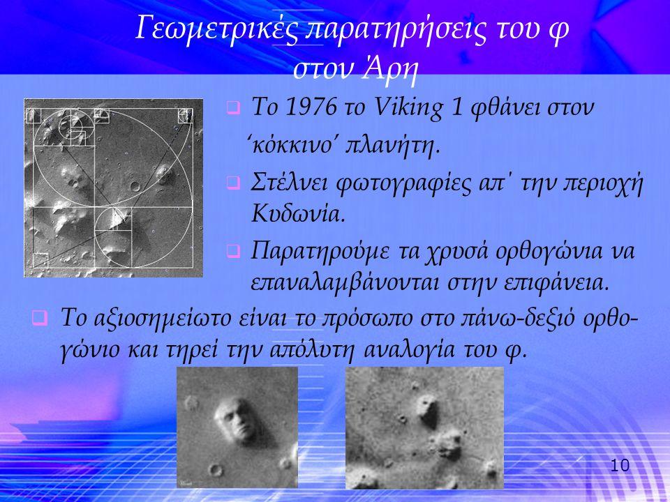 10 Γεωμετρικές παρατηρήσεις του φ στον Άρη  Το 1976 το Viking 1 φθάνει στον 'κόκκινο' πλανήτη.  Στέλνει φωτογραφίες απ΄ την περιοχή Κυδωνία.  Παρατ