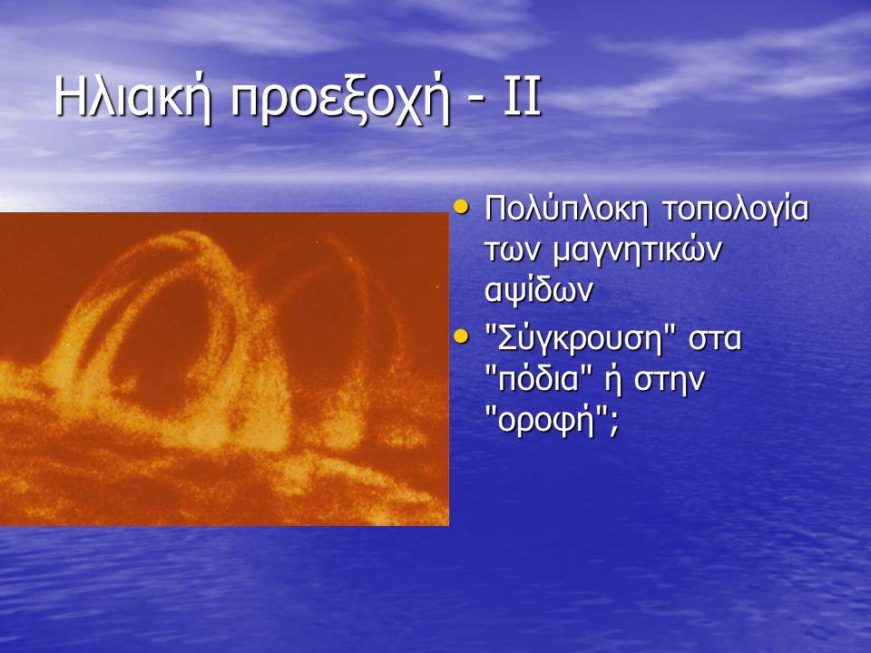 Ηλιακή προεξοχή - ΙΙ • Πολύπλοκη τοπολογία των μαγνητικών αψίδων • Σύγκρουση στα πόδια ή στην οροφή ;
