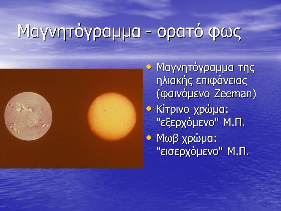 Μαγνητόγραμμα - ορατό φως • Μαγνητόγραμμα της ηλιακής επιφάνειας (φαινόμενο Zeeman) • Κίτρινο χρώμα: εξερχόμενο Μ.Π.