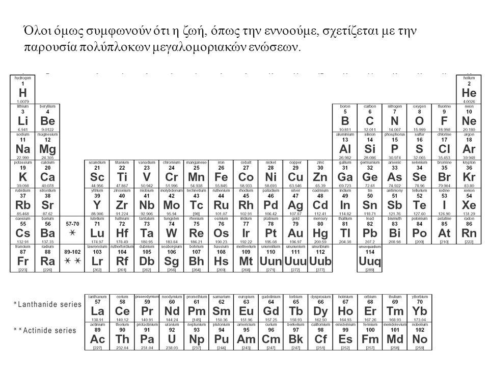 Όλοι όμως συμφωνούν ότι η ζωή, όπως την εννοούμε, σχετίζεται με την παρουσία πολύπλοκων μεγαλομοριακών ενώσεων.