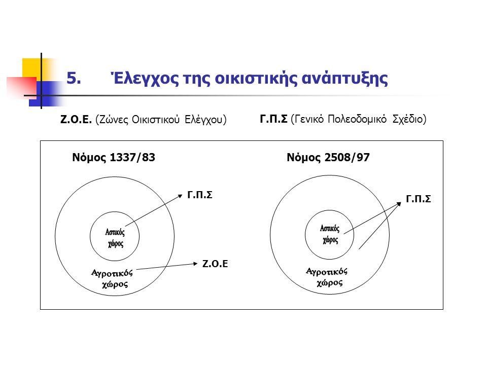 5.Έλεγχος της οικιστικής ανάπτυξης Ζ.Ο.Ε.