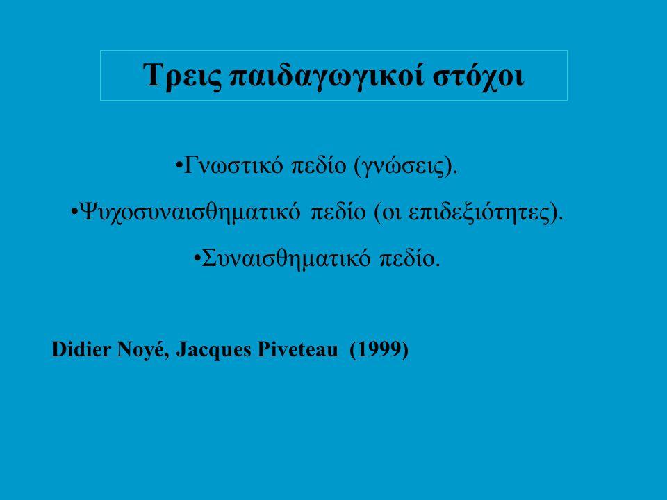 Τρεις παιδαγωγικοί στόχοι •Γνωστικό πεδίο (γνώσεις).