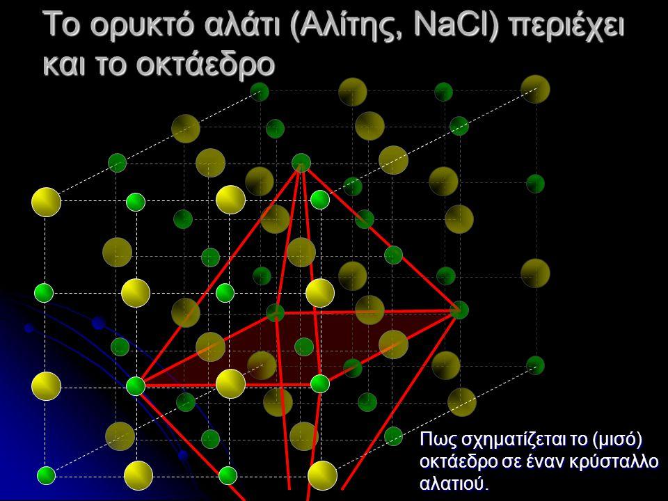 Το ορυκτό αλάτι (Αλίτης, NaCl) περιέχει και το οκτάεδρο Πως σχηματίζεται το (μισό) οκτάεδρο σε έναν κρύσταλλο αλατιού.