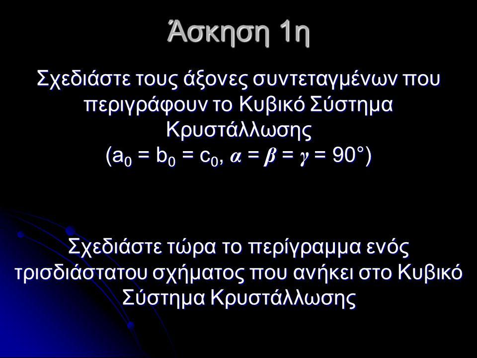 Άσκηση 1η Σχεδιάστε τους άξονες συντεταγμένων που περιγράφουν το Κυβικό Σύστημα Κρυστάλλωσης (a 0 = b 0 = c 0, α = β = γ = 90°) Σχεδιάστε τώρα το περί