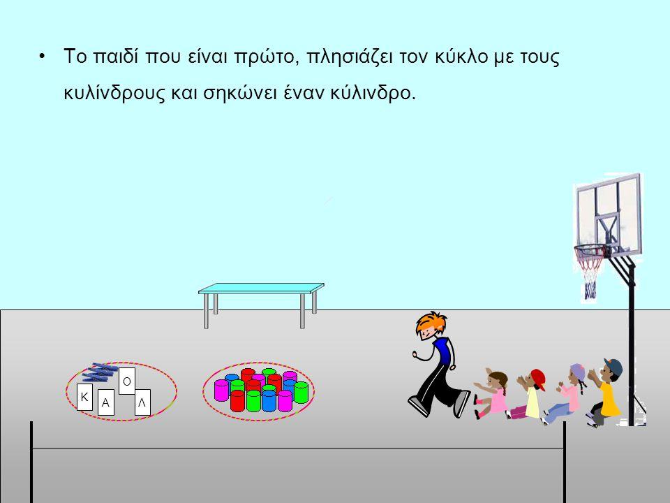 •Το παιδί που είναι πρώτο, πλησιάζει τον κύκλο με τους κυλίνδρους και σηκώνει έναν κύλινδρο. Α Κ Λ Ο