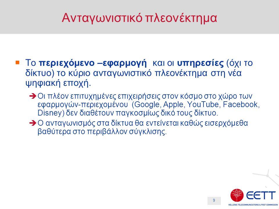 10 Η ελληνική εμπειρία  Εμφάνιση του νέου περιβάλλοντος ανταγωνισμού ήδη κατά την φάση μετάβασης στην ψηφιακή τηλεόραση  Πάροχος δικτύου διαφορετικός κατ' ανάγκη από τον πάροχο περιεχομένου  Οι πάροχοι περιεχομένου αναζητούν την βέλτιστη επιλογή παρόχου δικτύου  Προσφορά περιεχομένου μέσω άλλων εναλλακτικών δικτύων (πχ IP, Internet)  Ευθύς ανταγωνισμός από αποκλειστικά αλλοδαπά κανάλια  Οι τηλεοπτικοί δέκτες ενσωματώνουν δυνατότητες απευθείας πρόσβασης στο Ιντερνετ.