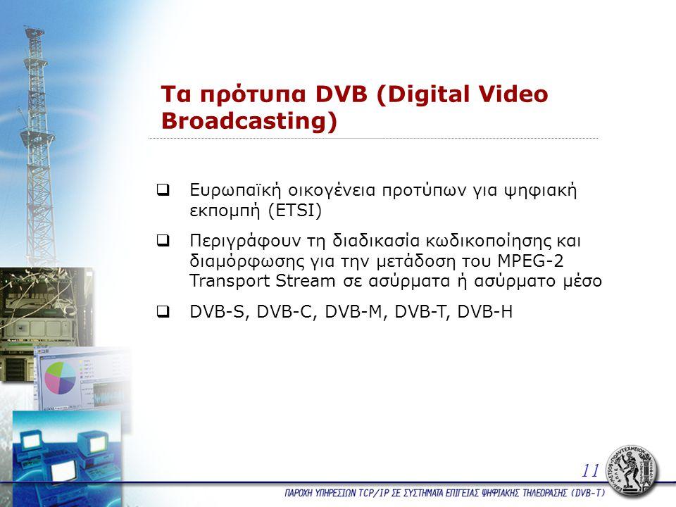 Τα πρότυπα DVB (Digital Video Broadcasting)  Ευρωπαϊκή οικογένεια προτύπων για ψηφιακή εκπομπή (ETSI)  Περιγράφουν τη διαδικασία κωδικοποίησης και διαμόρφωσης για την μετάδοση του MPEG-2 Transport Stream σε ασύρματα ή ασύρματο μέσο  DVB-S, DVB-C, DVB-M, DVB-T, DVB-H 11