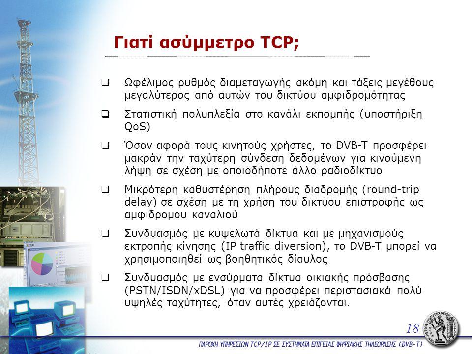 Γιατί ασύμμετρο TCP;  Ωφέλιμος ρυθμός διαμεταγωγής ακόμη και τάξεις μεγέθους μεγαλύτερος από αυτών του δικτύου αμφιδρομότητας  Στατιστική πολυπλεξία στο κανάλι εκπομπής (υποστήριξη QoS)  Όσον αφορά τους κινητούς χρήστες, το DVB-T προσφέρει μακράν την ταχύτερη σύνδεση δεδομένων για κινούμενη λήψη σε σχέση με οποιοδήποτε άλλο ραδιοδίκτυο  Mικρότερη καθυστέρηση πλήρους διαδρομής (round-trip delay) σε σχέση με τη χρήση του δικτύου επιστροφής ως αμφίδρομου καναλιού  Συνδυασμός με κυψελωτά δίκτυα και με μηχανισμούς εκτροπής κίνησης (IP traffic diversion), το DVB-T μπορεί να χρησιμοποιηθεί ως βοηθητικός δίαυλος  Συνδυασμός με ενσύρματα δίκτυα οικιακής πρόσβασης (PSTN/ISDN/xDSL) για να προσφέρει περιστασιακά πολύ υψηλές ταχύτητες, όταν αυτές χρειάζονται.
