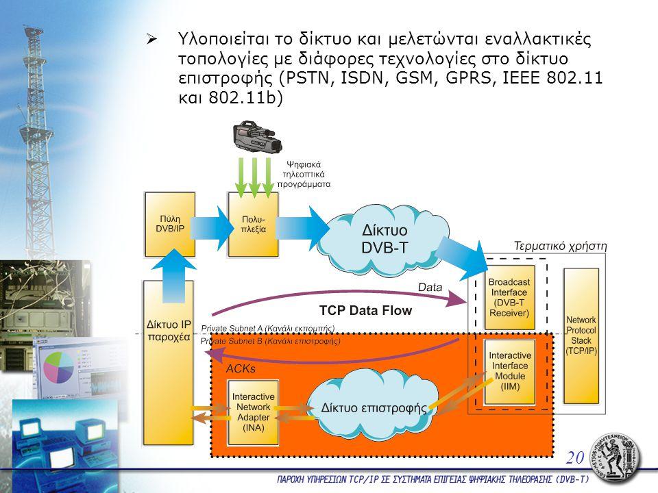  Υλοποιείται το δίκτυο και μελετώνται εναλλακτικές τοπολογίες με διάφορες τεχνολογίες στο δίκτυο επιστροφής (PSTN, ISDN, GSM, GPRS, ΙΕΕΕ 802.11 και 802.11b) 20