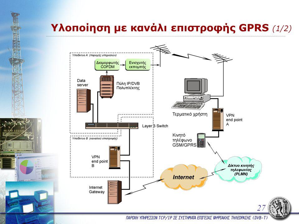 27 Υλοποίηση με κανάλι επιστροφής GPRS (1/2)